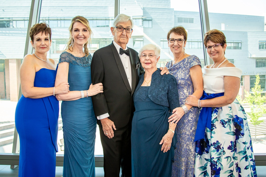 The Mangold family celebrating Casco Manufacturing Solutions' 60th anniversary include, from left: Christi Mangold Norton; Melissa Mangold, Casco president and owner; father Thomas Mangold; mother Teri Mangold; Penny Mangold Herr; and Cheryl Mangold Cavendish.