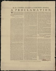 1784 Proclamation of the ratification of the Treaty of Paris by the US Congress in Annapolis, Maryland.