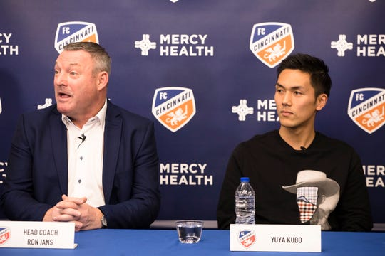 Yuya Kubo speaks during a press conference introducing him as a new forward and designated player for FC Cincinnati on Monday, Jan. 13, 2019 at the FC Cincinnati training facility in Milford. Kubo is the league's first Japanese designated player.