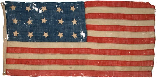 The American flag with 15 stars and 15 stripes.