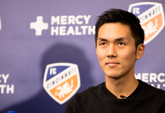 Yuya Kubo looks on during a press conference introducing him as a new forward and designated player for FC Cincinnati on Monday, Jan. 13, 2019 at the FC Cincinnati training facility in Milford. Kubo is the league's first Japanese designated player. MLS designated players is a player that makes more than the maximum budget salary. Each team is allowed to have three designated players.