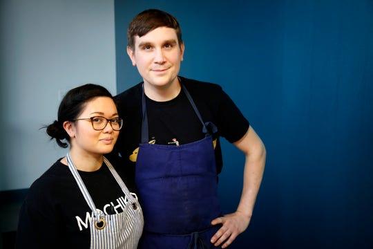 Chefs Elaine Townsend and Erik Bentz pose at the Mochiko pop up inside of Money Chicken in downtown Cincinnati on Monday, Jan. 6, 2020.