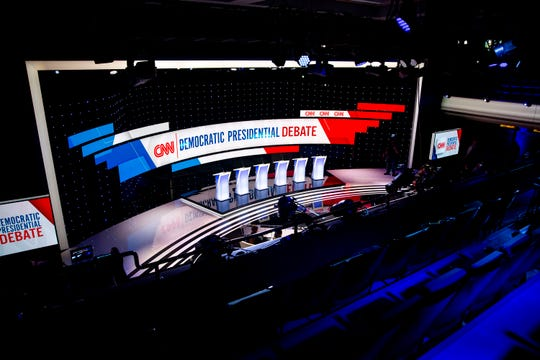 Inside Sheslow Auditorium where preparation is underway for the CNN/Des Moines Register Democratic presidential debate on Sunday, Jan. 12, 2020, on the Drake University campus in Des Moines.