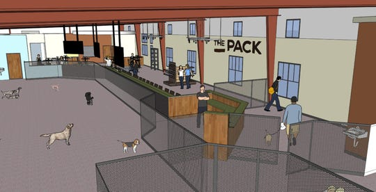 Renderings of the 10,000-square foot indoor dog park The Pack is expected to open summer 2020 in Comstock Park.