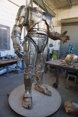 A look at the nearly completed RoboCop statue from December 2019; all that is left to do is applying the patina and welding the large sections, including the head, together.