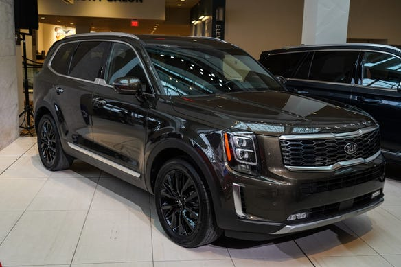 The 2020 Kia Telluride -- seen here on display after being named the 2020 North American Utility of the Year at the TCF Center in Detroit on Monday, January 13, 2020 -- was named as a Consumer Reports Top Pick.