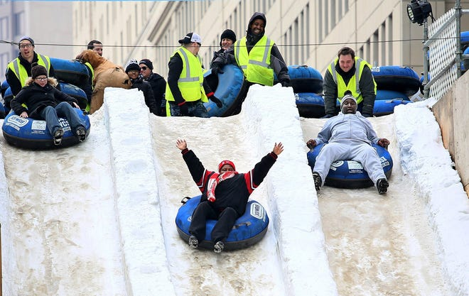 The 200-foot snow slide is always a hot ticket at the Winter Blast.