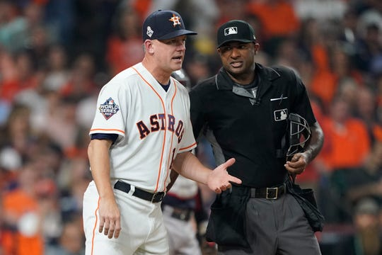 Astros manager AJ Hinch will be suspended for the 2020 season as part of the punishment handed down by Major League Baseball over a sign-stealing investigation.