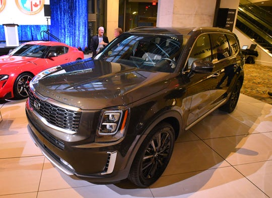 The 2020 North American Utility Vehicle of the Year, the Kia Telluride, at the TCF Center in Detroit on Monday.