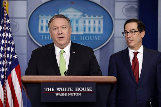 Secretary of State Mike Pompeo and Treasury Secretary Steve Mnuchin brief reporters about additional sanctions placed on Iran, at the White House, Friday.