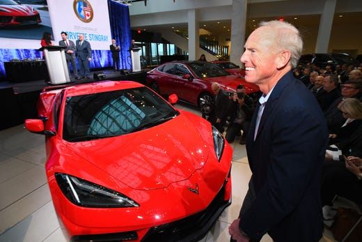 Chevrolet Corvette chief engineer Tadge Juechter goes to the stage to accept the 2020 North American Car of the Year, the Chevrolet Corvette Stingray, award at the TCF Center in Detroit on Jan. 13, 2020