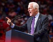 Sen. John Cornyn, R-Texas, speaks during a campaign rally for President Donald Trump, Thursday, Oct. 17, 2019, at the American Airlines Center in Dallas.