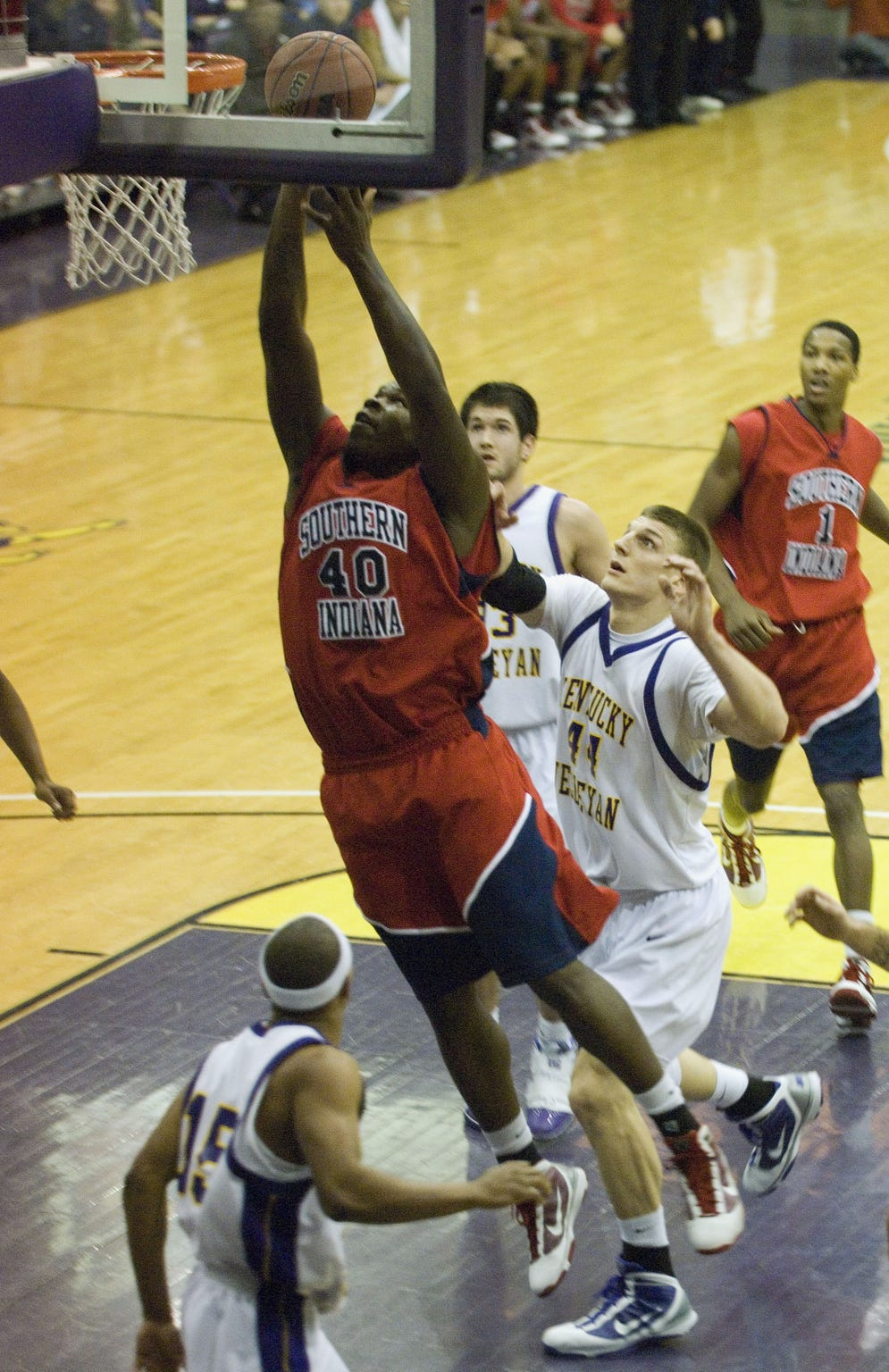 Jeron Lewis scores against Kentucky Wesleyan on Jan. 14, 2010. Later in the game, Lewis collapsed on the court and was later pronounced dead.