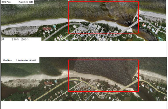 Aerial views of how the beach near Blind Pass has eroded, courtesy of the City of Sanibel.