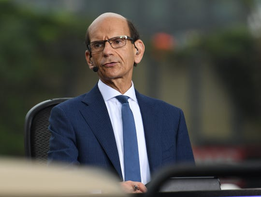 Paul Finebaum, radio and ESPN television personality, gets ready to speak on television near activities outside the Superdome, before of the College Football Playoff National Championship game in New Orleans Monday, January 13, 2020.