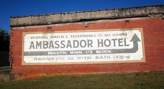 "Greenville stood in for Duluth, Minnesota, in the 2008 film, ""Leatherheads."" Among the background scenery for the movie about the beginnings of professional football was this sign for an imaginary Duluth hotel painted on the side of a Welborn Street warehouse."
