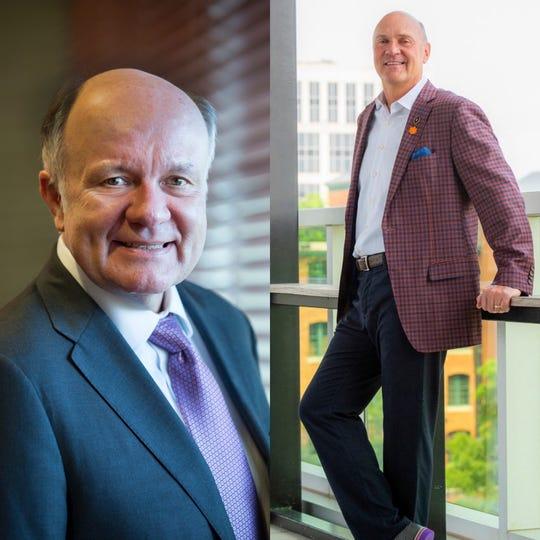 Tom Galligan, interim president of Louisiana State University and Jim Clements, president of Clemson University