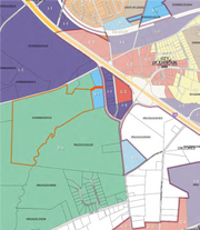 This Greenville County zoning map shows a highlighted property off Wilson Bridge Road adjacent to Fountain Inn that the city is considering annexing.