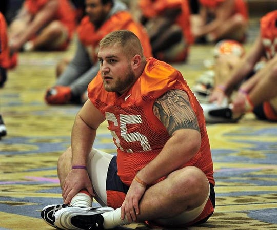 Clemson's Matt Bockhorst (65) stretches during practice Saturday at the Hilton Riverside in New Orleans.