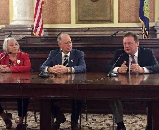 Republican state senators discuss Legislative Week. From left, Sen. Dee Brown of Hungry Horse, Sen. Fred Thomas of Stevensville and Sen. Mark Blasdel of Kalispell.