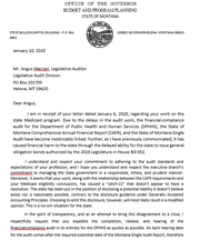 Budget Director Tom Livers  wrote to Angus Maciver on Jan. 10,  seeking to resolve the issue.