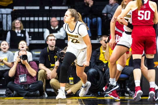 Iowa guard Kathleen Doyle (22) reacts after making a basket during a NCAA Big Ten Conference women's basketball game against Indiana, Sunday, Jan. 12, 2020, at Carver-Hawkeye Arena in Iowa City, Iowa.