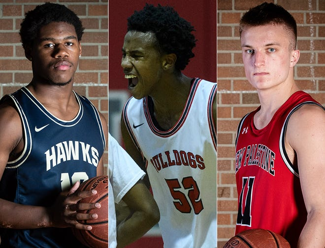 Left to right: Decatur Central's Kenny Tracy, Evansville Bosse's Kiyron Powell and New Palestine's Maximus Gizzi