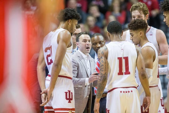 Hoosiers coach Archie Miller coaching during a timeout in the first half against the Ohio State Buckeyes at Simon Skjodt Assembly Hall