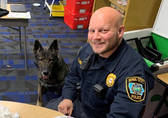 Officer Travis Neeld and K9 Luke at Pizza with the Police.