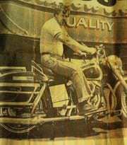 Tony Rakowski, seen here in 1983, keeps a photo of this Frankfort Times newspaper clipping to show when people ask him about how he came to own, even for a short time, Elvis Presley's last motorcycle.