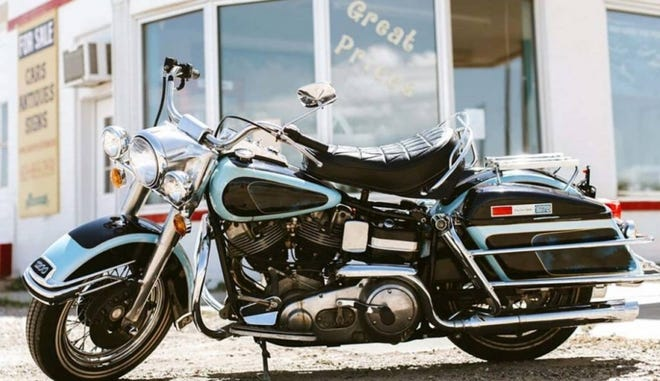 This photo provided by GWS Auctions shows a motorcycle that belonged to Elvis Presley. The auction house said the 1976 Harley Davidson FLH 1200 Electra Glide motorcycle was the last motorcycle Presley ever purchased. The motorcycle, once owned by Tony Rakowski of Lafayette, sold for $800,000.