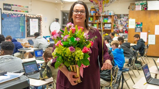 Elizabeth Grossie, a seventh grade teacher at Broussard Middle was selected as Lafayette Middle School teacher of the year Monday, Jan. 13, 2020.
