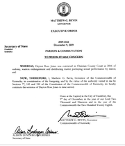 """Gov. Matt Bevin's order for Dayton  Jones is labeled a """"Pardon & Commutation""""  on the top of the document, but the Secretary of State's office  has  determined it is a commutation only because only that is mentioned in the body of the order"""
