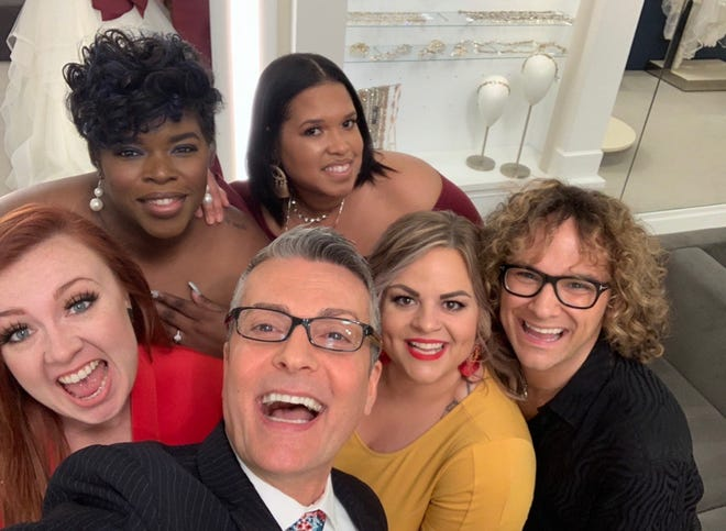 """RaeShanda Johnson (top left) of Louisville is featured on TLC's """"Say Yes To the Dress. """" with her entourage Dawana Clarkson (top right), Amber Peppers (middle row left), """"Say Yes To The Dress"""" host Randy Fenoli (bottom left) , Ashley Bennington (bottom row middle) and wedding consultant James McAlvanah (bottom row right) at  Kleinfeld Bridal New York City, NY."""