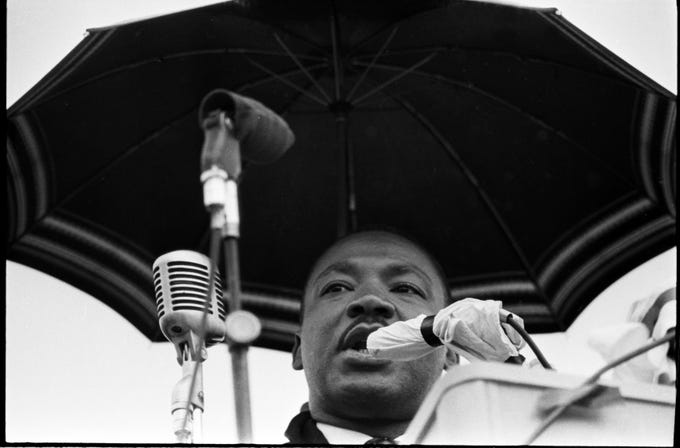 Dr. Martin Luther King spoke during a march on the state capitol in Frankfort. By Bill Strode, The Courier-Journal.  March 5, 1964