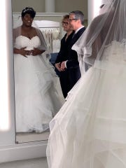 """RaeShanda Johnson of Louisville is featured on TLC's """"Say Yes To the Dress""""  with show host Randy Fenoli and wedding consultant  James McAlvanah.  Kleinfeld Bridal New York City, NY."""