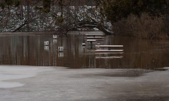 Flooding seen near the MDOT roadside park near Meridian Road and M-43, Monday, Jan. 13, 2020.