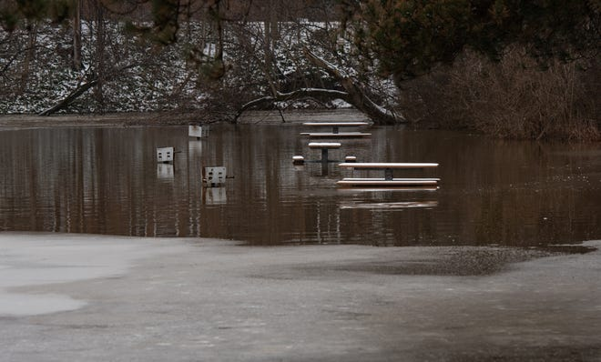 Flooding seen near the MDOT roadside park near Meridian Road and M-43, Monday, Jan. 13, 2020.