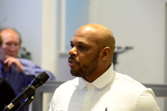 """Carlos Christian of Starts Within speaks Sunday at the kickoff of """"Spread the Light"""" week."""