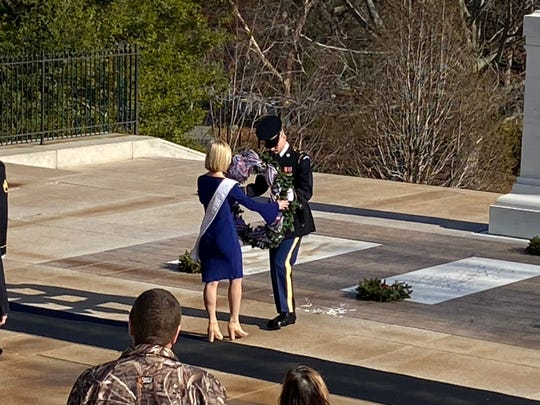 Miss Ohio 2019 Caroline Grace Williams represented Ohio in Washington, D.C. Jan. 6 as she laid a wreath on The Tomb of the Unknown Soldier.