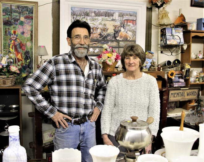 Tim Gorenflo, left, is the owner and operator of Studio See and Zenzations Fine Art Gallery, The Workshop Handyman Services, and The Back Forty Dealers, all located at the corner of East Water and South Elm streets in Prospect. Kathleen Gorenflo-Piper, right, Gorenflo's sister, works with him in several of the business ventures.