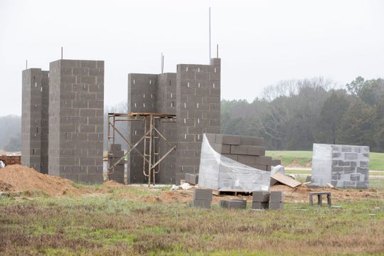 The foundation for a bell tower takes shape as construction continues at Silo Square on Monday, Jan. 13, 2020, in Southaven.