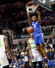 Memphis Tigers forward D.J. Jeffries dunks the ball against the South Florida Bulls during their game at the Yuengling Center in Tampa, Fla. On Sunday, Jan. 12, 2020.