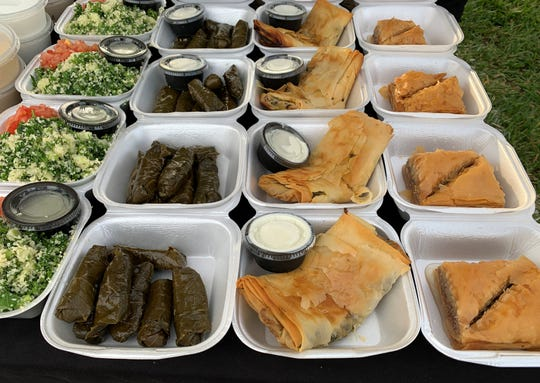 A wide assortment of offerings from Greek Grille at the Marco Island Farmer's Market.