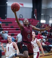 Park Crossing's Alexis Andrews (4) goes up for a layup at Stanhope Elmore High School in Millbrook, Ala., on Monday, Jan. 13, 2020.