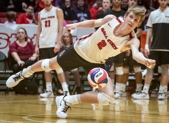 Ball State sophomore outside attacker Kaleb Jenness attempts to hit a ball during a recent match.