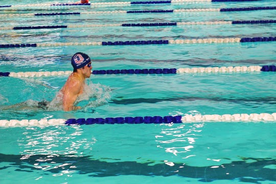 Oakland's Joseph Jordan competes in the boys 200 medley relay at the Doris Coady Rutherford County Swim Meet. Sunday, Jan. 12, 2020.