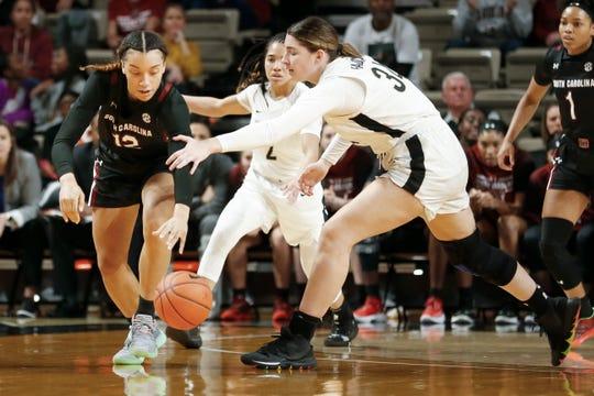 South Carolina guard Brea Beal (12) steals the ball from Vanderbilt forward Mariella Fasoula (34) in the first half of an NCAA college basketball game Sunday, Jan. 12, 2020, in Nashville, Tenn.