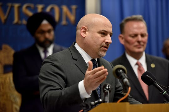 At the podium, Craig Carpenito, U.S. Attorney for the District of New Jersey, and other member of law enforcement agencies update the public on the investigation of the Jersey City shooting, which occurred on December 10, 2019, as a press conference at FBI Newark Division Field Office in Newark, N.J. on Monday Jan. 13, 2020.