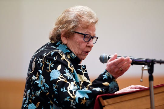 Senator Loretta Weinberg accepts an award given to her by the Northern New Jersey Holocaust Memorial & Education Center during a presentation at Congregation Keter Torah in Teaneck on Sunday, Jan. 12, 2020.